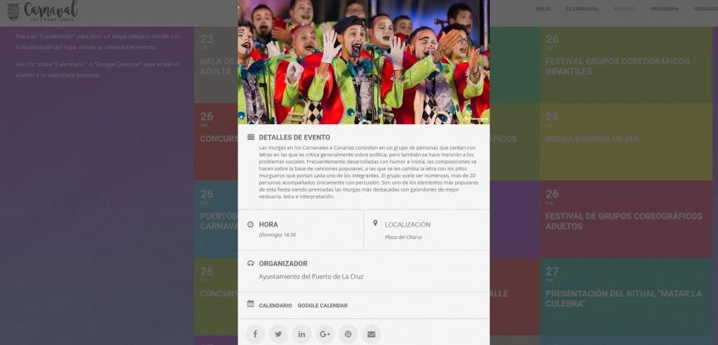 diseño web compartir evento