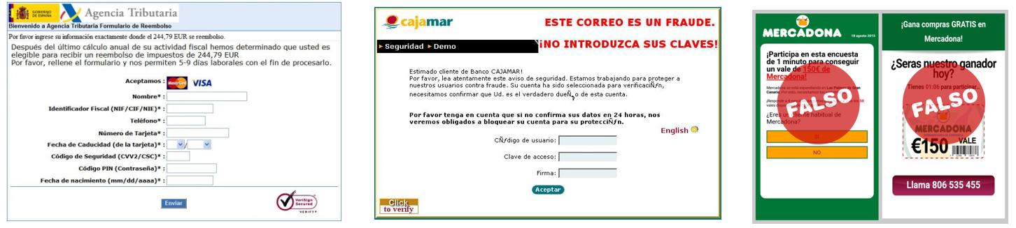 ejemplos de phishing mercadona agencia tributaria cajamar