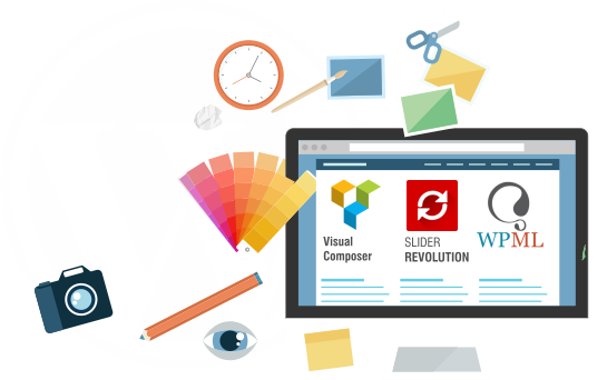 diseño grafico para diseño web sobre wordpress con wpml slider revolution y visual composer