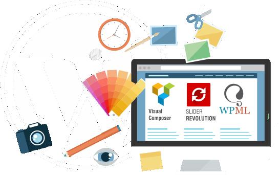 diseño grafico para diseño web sobre wordpress con wpml slider revolution y visual composer