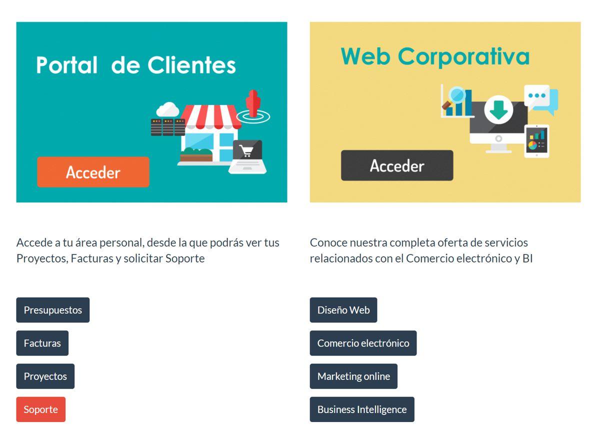 extranet portal de clientes web corporativa ecommerce b2b