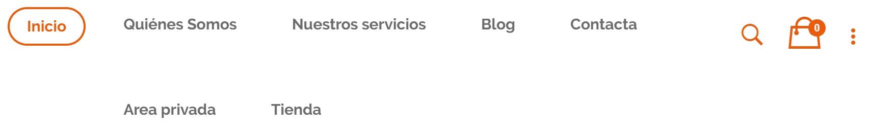barra menu aurea laboral tienda online blog area privada de clientes