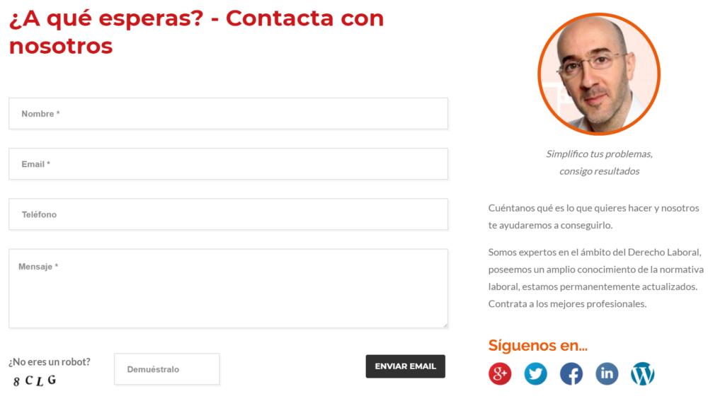 contacto formulario aurea laboral redes sociales
