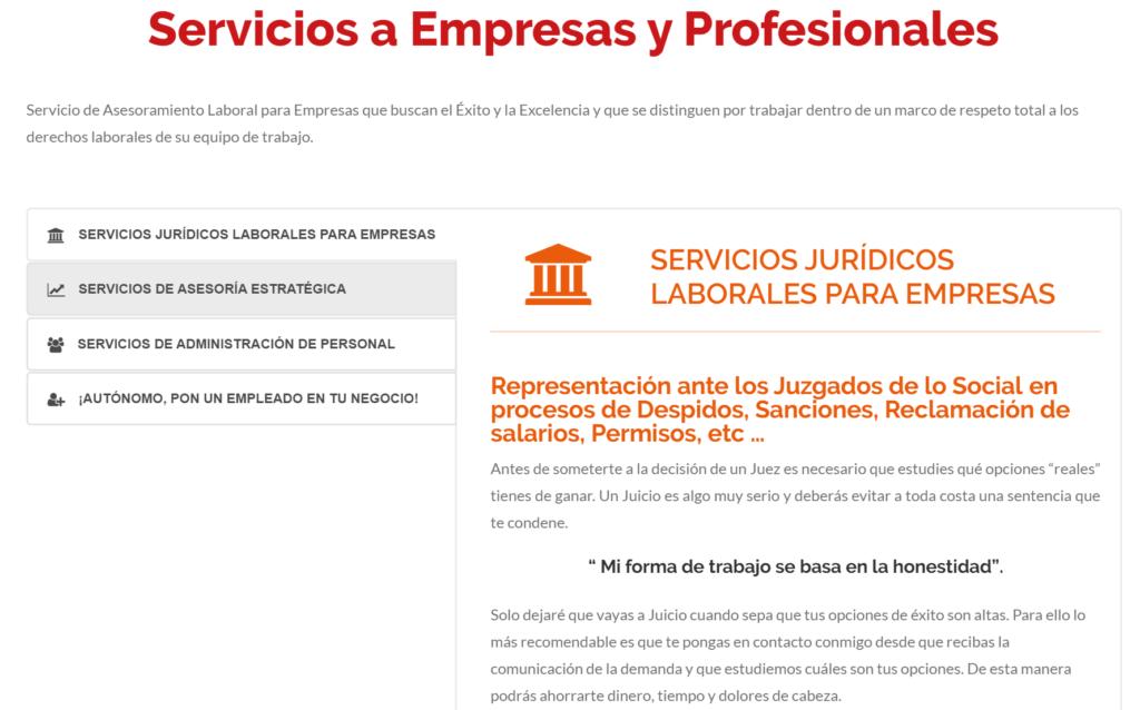 servicios a empresas y profesionales landing page corporativa