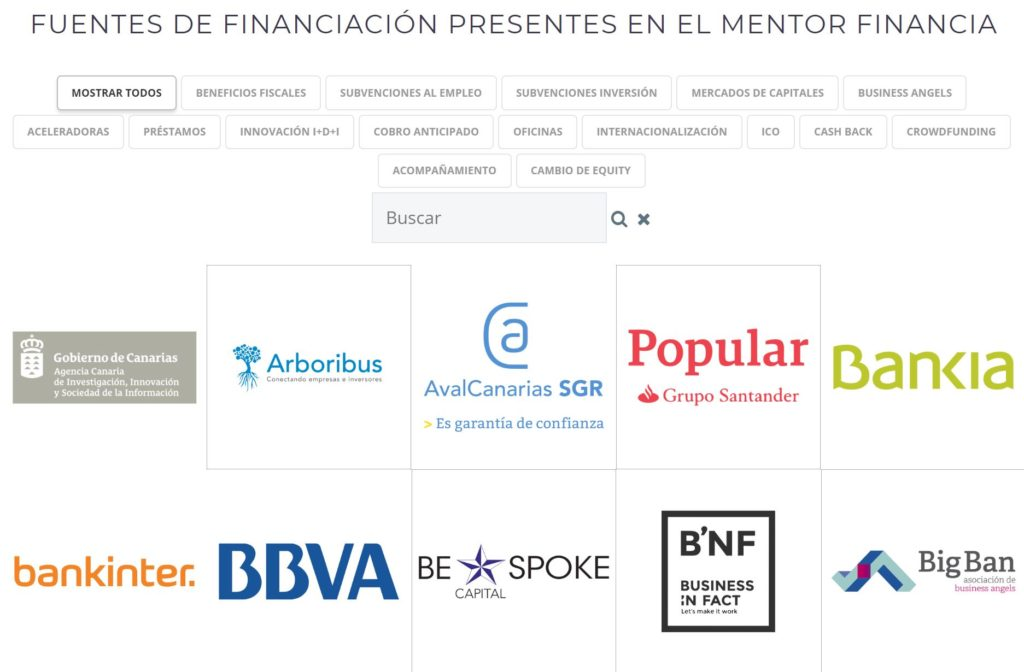 fichas fuentes de financiacion mentor day