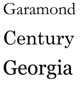 garamond century georgia fonts
